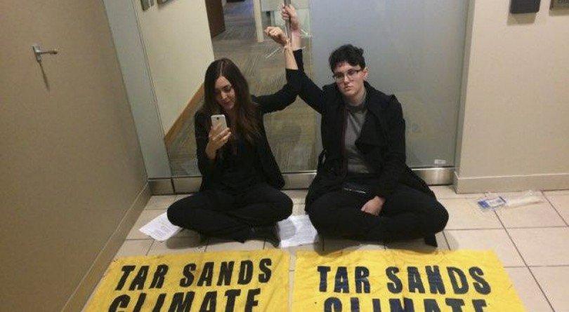 Edmonton protestors Anna Gerrard and Kate Jacobson