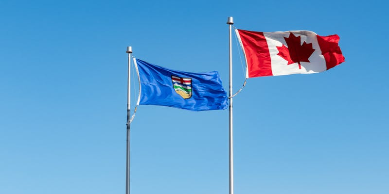 Alberta and Canada flag