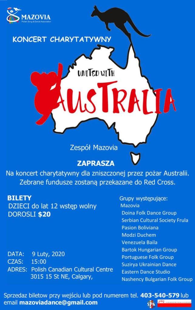 Zespól Mazovia koncert charytatywny na pomoc Australii poster
