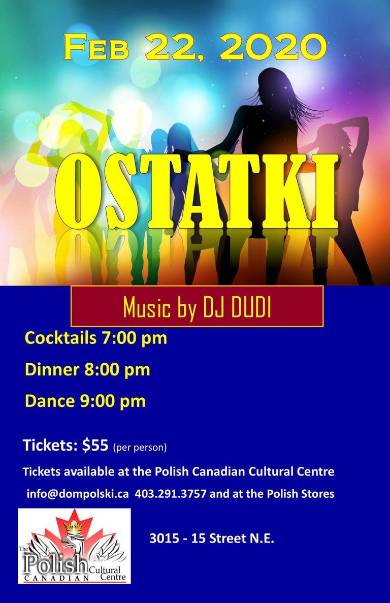 Ostatki w Domu Polskim Calgary 2020 plakat