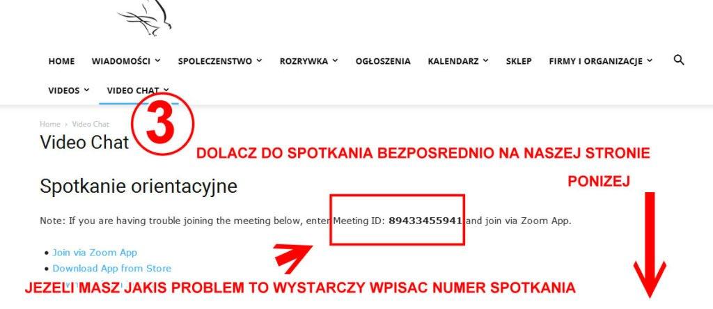 Polonia w Calgary Zoom wideo chat instrukcja