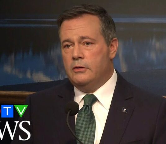 Alberta Premier Jason Kenney speaks during a press conference in Edmonton on February 24, 2020