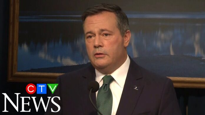 Alberta Premier Jason Kenney speaks during a press conference in Edmonton on February 24, 2020