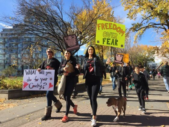 Anti-mask rally to protest mask mandate in Calgary october 2020