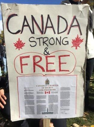 Protest przeciwko obowiazkowemu noszeniu masek w Calgary. 8
