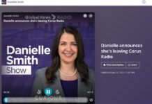 Danielle Smith z QR77 rezygnuje z talk show.